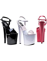 ELLIE Shoes Patent High Heel Platform Sandals Ankle Strap 821-JULIET-C Black-11