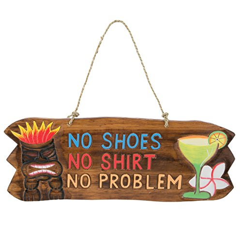 Tropical Tiki Wood - No Shirt No Shoes No Problem Wood Tiki Mask Sign With Twine Hanger - Tropical Drink and Flower Accent - 17