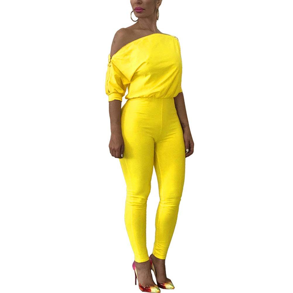 Desirepath Women's Slash Neck Jumpsuits Solid Comfy Loose Short Sleeve Romper Long Straight Pants Yellow