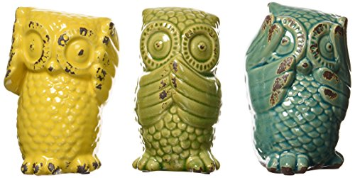 Imax 69230-3 Wise Owls - Set of 3 Ceramic Statuaries, Handcrafted Decor Accessories, Vintage-Inspired Showpieces. Home Decor from Imax