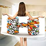 smallbeefly Letter H Bath Towel Letter H Stacked from Gaming Balls Alphabet of Sports Theme Competition Activity Bathroom Towels Multicolor Size: W 31.5'' x L 80''