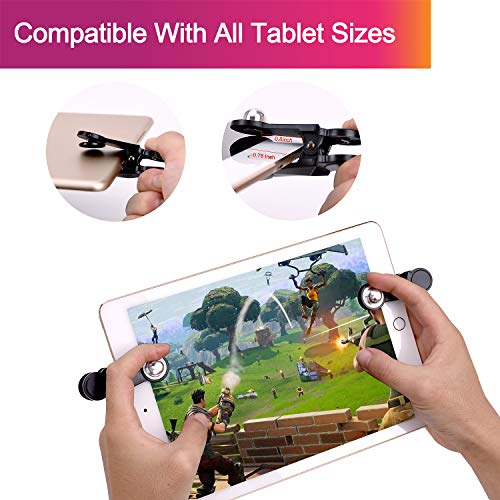 [2 Triggers] PUBG Fortnite Tablet Game Controller - GTOTd Ipad Game Accessories,Slates Game Trigger,L1R1 Sensitive Shoot and Aim,Gift for Kids and Player [New Version] (Black) by GTOTd (Image #1)