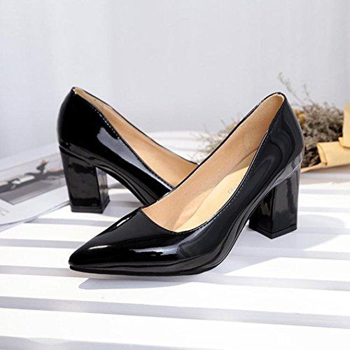 ¡Oferta de liquidación de Covermason! Zapatos de tacón cuadrado de moda para mujeres de tacón bajo Zapatos de tacón alto poco profundos(36 EU, ...