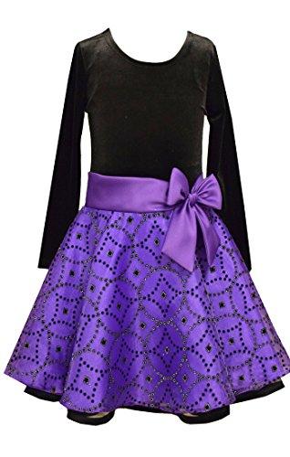 Denim Velvet Skirt (Bonnie Jean Girls Purple Velvet Glitter Organza Skirt Holiday Dress 14)