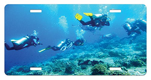 (Lunarable Ocean License Plate, Scuba Diver in Ocean with Stones Rocks Fish Moss and Bubbles Art Photo, High Gloss Aluminum Novelty Plate, 5.88