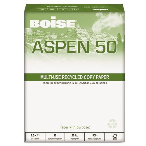 ASPEN 50% Recycled Office Paper 92 Bright 20lb 81/2 x 11 White (Aspen 50 Office Paper)