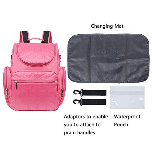 EGOGO Versátil Espacioso Resistente al agua Bebé Bolso de Pañales Viajes Bolsa de cambio Pañal Cambiadores Mochila con Almohadilla de Pañales E304-3 (Rosa) morado