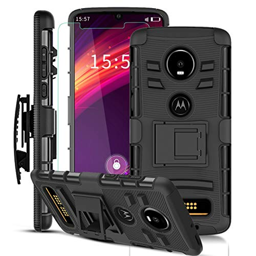 Moto Z4 Case, Moto Z4 Play Case w/Screen Protector & Built-in Kickstand & Belt Clip[Hybrid Dual Layer][Shockproof Bumper] Heavy Duty Full Body Protective Phone Case for Motorola Moto Z4 Play-Black