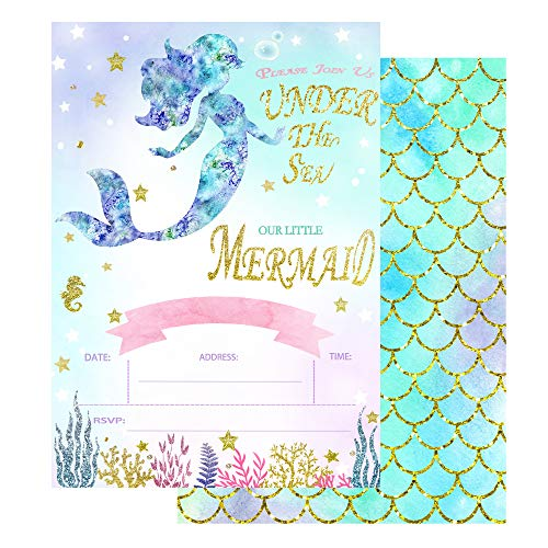 20 Fill in Mermaid Invitations with Envelopes, Magical Glitter Mermaid Party Invitations, Mermaid Birthday Invitation,Under The Sea Invitations