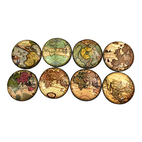 Set of 8 Old World Maps Cabinet Knobs (Set 1) (Globe Knob)