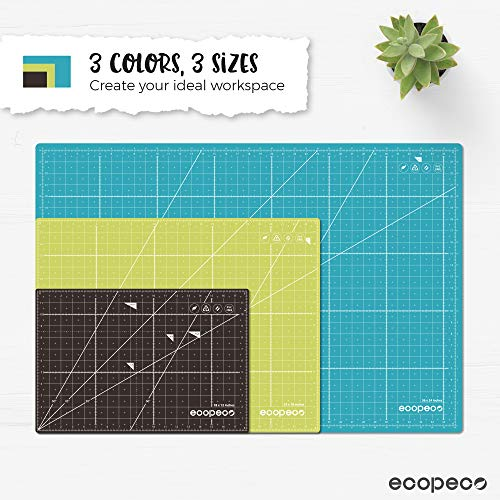 ecopeco 18″ x 24″ Self Healing Cutting Mat (Green) | Double Sided Grid Board with No Smell, Non-Slip for Art, Craft, Sewing, Quilting, Model, Hobby | Great for Paper, Fabric, Vinyl & Plastic with Rotary Cutter, X-Acto Knife by Eco-Friendly Material