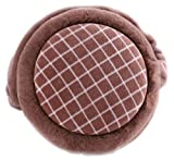 Winter Unisex Hamburger Check Earmuffs Faux Furry Warmers Rotatable Foldable Outdoor brown