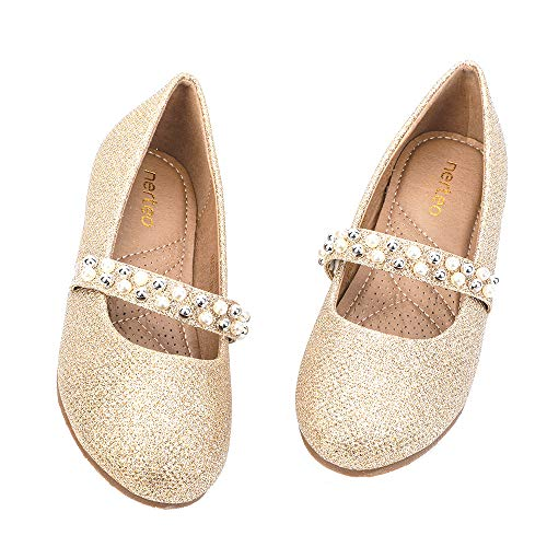 nerteo Girl's Dress Shoes Mary Jane Princess Glitter Ballet Flats Gold Glitter 2 M US Little Kid