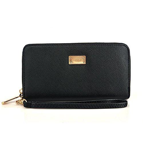 Women Wallet Card Case Leather Clutch Wallet Zipper Pocket Wristlet