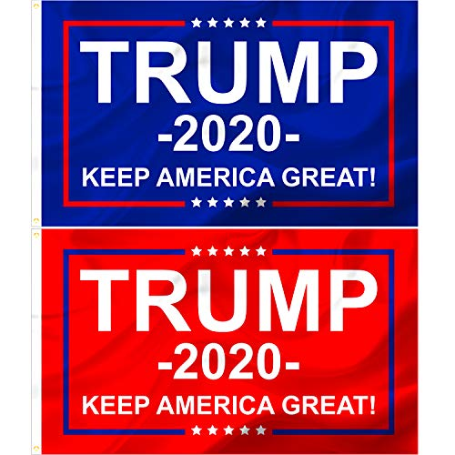 Donald Trump 2020 Flags, 2 Pc Set, Keep America Great, Front Yard, Garden and Outdoor Use, UV and Weather Resistant, MAGA