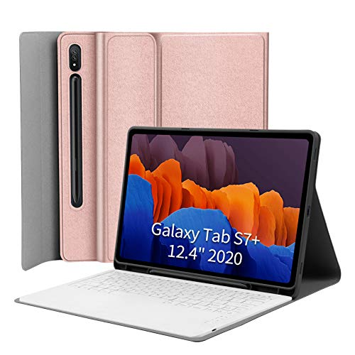 """Keyboard Case for Samsung-Galaxy-Tab S7 Plus 12.4 - JUQITECH Smart Case with Keyboard for Galaxy Tab S7 Plus 12.4"""" SM-T970/T975/T976 2020 Tablet Detachable Wireless Keyboard Cover S Pen Holder, Pink"""