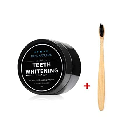 FOXTSPORT Polvo de Dientes + Cepillo de dientes de bambú, Polvo Blanqueador de dientes,