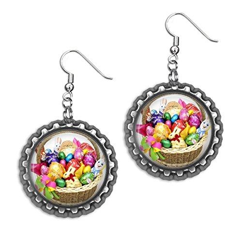 Dangle Earrings Basket (Easter Basket Bottlecap Earrings)