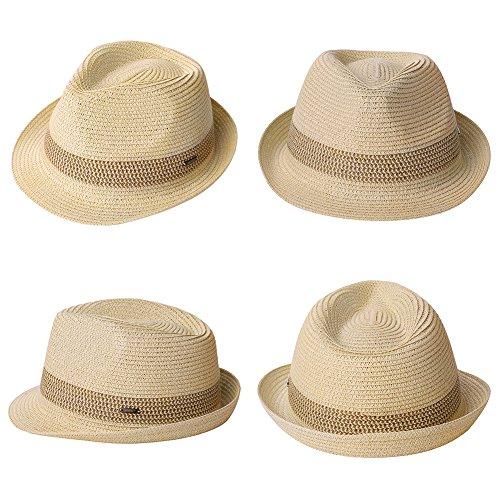 ed13b768503 Packable Straw Fedora Panama Sun Summer Beach Hat Cuban Trilby Men Women 55 -61cm