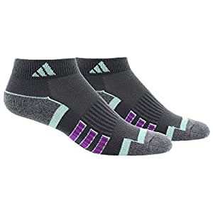 adidas Women's Climalite Ii Low Cut Socks (2 Pack), Dark Grey/Ice Green/Purple/Dark Grey Marl, One Size