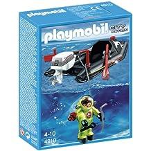 Playmobil 4910 Deep Sea Diver And Dinghy - City Action Set (Jeu de Construction - Bateau Pneumatique avec Scaphandrier)