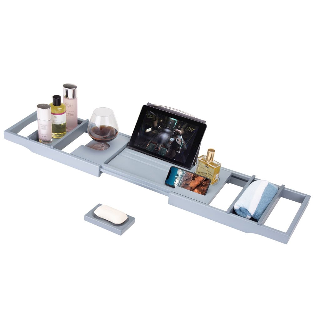 Frond Bamboo Bathtub Caddy Tray, Luxury Wood Bath Rack with Extendable Sides for Book, iPad, Kindle, Phone Wineglass Tablet Holder - Burlywood