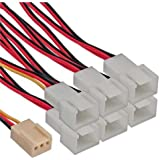 InLine 3 Pin Molex Female to 6x 3 Pin Molex Male Fan Adapter Y-Cable