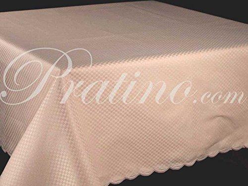 Tablecloth Rectangular x12 Cotton Satin Light Pink Squares +12 Napkins 270x180 8065