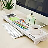 SODIAL Multifunction Desktop Computer Keyboard Storage Shelf Wooden Plastic Pen Beads Home Decor Hanger