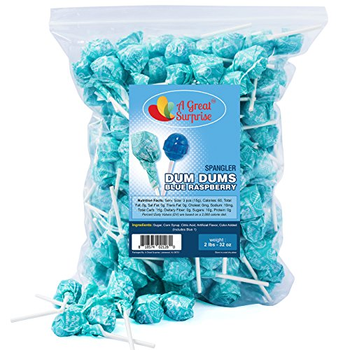 Dum Dums Blue Raspberry - Dum Dum Lollipops Blue Raspberry, by Spangler, Bulk Candy, 2 Pounds (Easy To Make Halloween Sugar Cookies)
