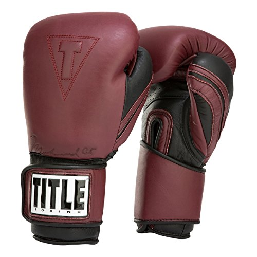 Title Boxing Ali Authentic Leather Training Gloves, Maroon/Black, 14 oz
