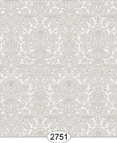 - Dollhouse Wallpaper Annabelle Mini Reverse Damask Grey Silver