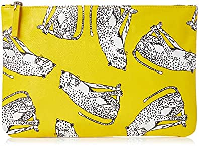 DAY FIVE STUDIOS Women's LEOPARD POUCH, Yellow, Large