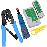 Vastar Network Cable Repair Kit - Network Wire Punch Down Impact Tool, Dual-Modular Crimping Tool and J45 RJ11 RJ12 CAT5 CAT 6 Multi-functional UTP Network Lan Cable Tester Test Tool