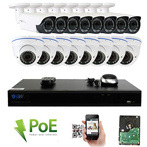 GW Security 16CH 5 Megapixel 1920P Video Home Security Camera System, 8pcs HD 1920p 5MP Outdoor Bullet 8pcs Dome IP Camera,80-120ft Night Vision, 330ft Transmit Range, 4TB HDD