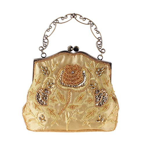 Evening For Style Bag Party Embroidery Women Vintage Yellow Manual And Wedding Handbag Beaded Roses YANXH Sequined Women's Purse Clutch qFwOXXE