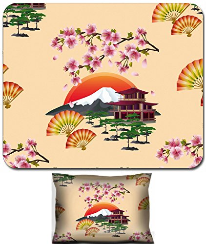 Luxlady Mouse Wrist Rest and Small Mousepad Set, 2pc Wrist Support design IMAGE: 33444801 Beautiful golden background seamless pattern with branch of blossoming pink sakura cherry tree japanese (Landsc Fabric)