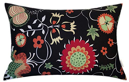 TangDepot 100% Cotton Floral Printcloth Decorative Throw Pillow Covers, Handmade,45 Colors,19 Sizes Avaliable, Rectangle Shells, Decorative Cushion Cover - (12