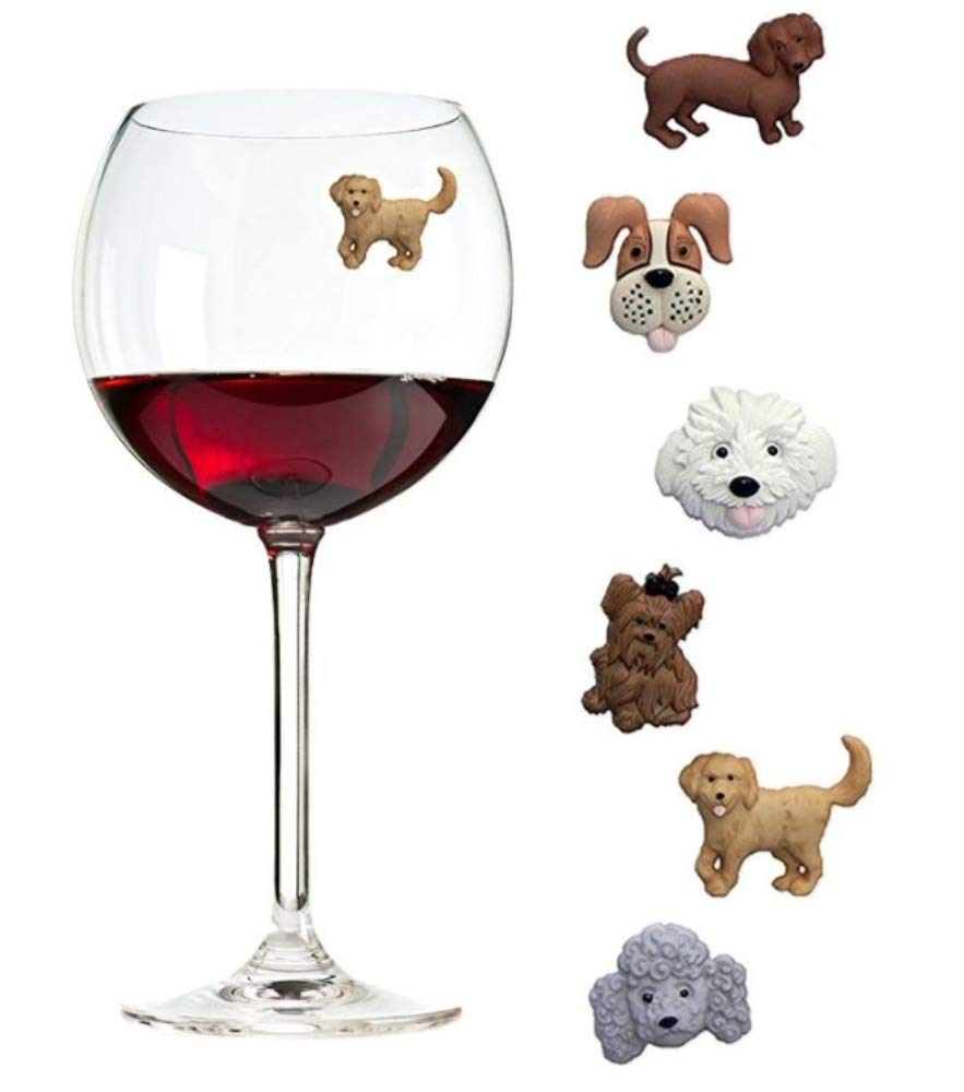 Simply Charmed Magnetic Dog Wine Charms or Glass Markers for Stemless Glasses - Great Birthday or Hostess Gift for Dog Lovers - Set of 6 Cute Puppy Glass Identifiers by Simply Charmed