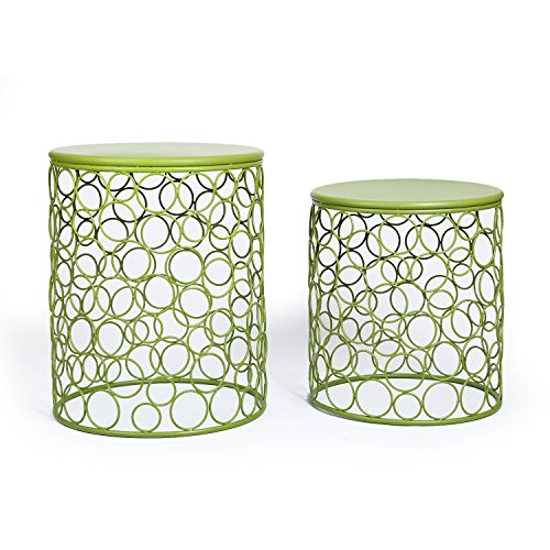 Adeco Home Garden Accents Circle Wired Round Iron Metal Nesting Stool Side End Table Plant Stand, Bubble Pattern, for Indoor Outdoor, Olive Drab Green, Set of Two