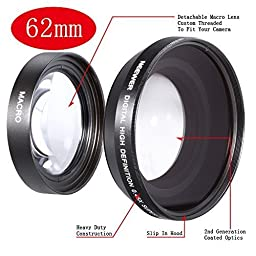 Neewer® 62mm 0.45x Wide Angle Lens with Macro for 18-55mm, 55-200mm, 50mm Nikon Lenses (Lens Bag included)
