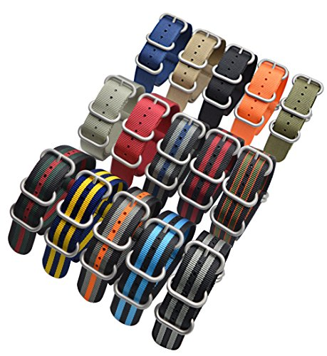 ArtStyle Watch Band with Colorful Nylon Material Strap and Heavy Duty Brushed Buckle (Black/Grey/Orange, 20mm) Photo #7