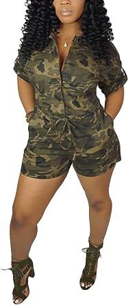 Women's Casual Camouflage Short Jumpsuit Outfit Set