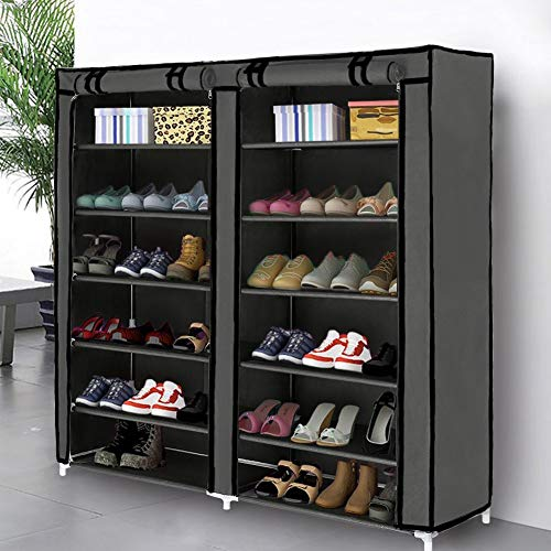 (Blissun Shoe Rack Shoe Storage Organizer Cabinet Tower with Non-Woven Fabric Cover (Grey))