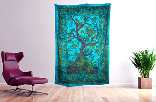 Tribe Azure Wall Tapestry Tree of Life Large Wall Hanging Art Colorful Boho Hippie Bedding Nature Home Decor Decorative Collage Dorm Living Room Bedroom Yoga Bright Bohemian Colorful (Turquoise)