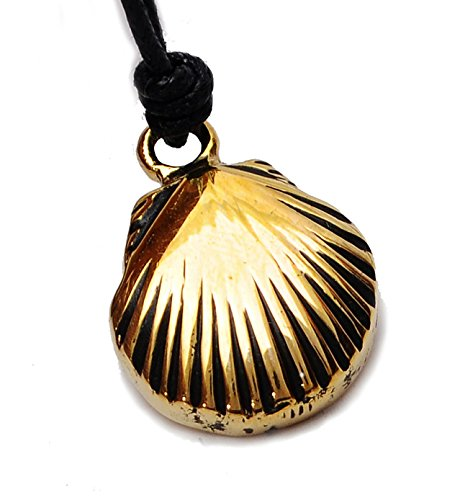 Gold Oyster Shell Charm (Clam Shell Oyster Gold Brass Charm Necklace Pendant Jewelry)
