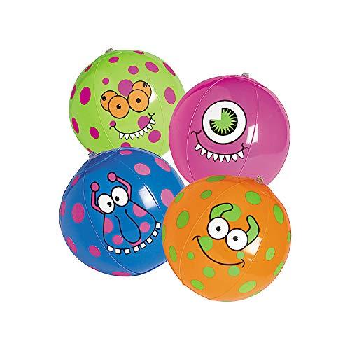 Fun Express - Monster Beach Ball - Toys - Inflates - Beach Balls - 12 Pieces