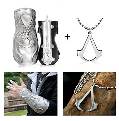 [Assassin's Creed IV: Silver Flag Brotherhood Ezio & Gauntlet Hidden Blade & Gauntlet Cosplay Hidden Blade Cosplay + Assassin's Creed Necklace (with Bead] (Assassins Creed Iv 4 Black Flag Edward Kenway Cosplay Costume)