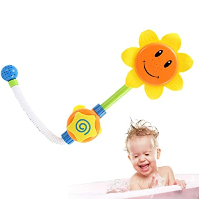 1 Pc Bath Toy Toddler Baby Wind Up Toys Toys Sunflower Bath Toys Cartoon Water Shower Spray Bathing Tub Fountain Toys For Kids Boy Girl Gifts(Yellow): Toys & Games
