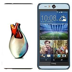 TECHCASE---Cubierta de la caja de protección para la piel dura ** HTC Desire Eye ( M910x ) ** --Heart Of Glass Vase Arte 3D Blanca